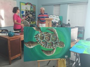 Emily Coly in her very creative classroom at the SchoolHouse for Special Needs (Barbados)